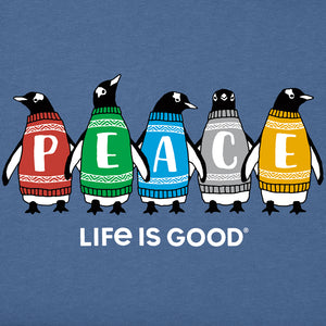 Life is Good Toddler Long Sleeve Crusher Peace-guins, Vintage Blue