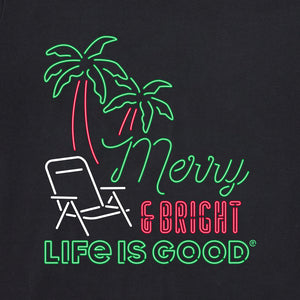 Life is Good Women's Long Sleeve Crusher Tee Merry & Bright Neon, Jet Black