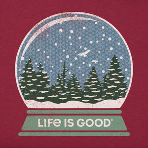 Life is Good Women's Long Sleeve Crusher Vee Winter Snow Globe, Cranberry Red