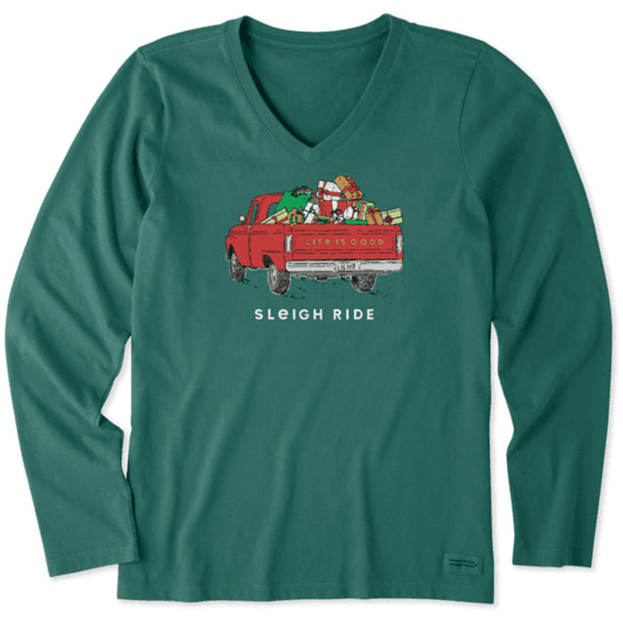 Life is Good Women's Long Sleeve Crusher Vee Sleigh Ride Pickup, Spruce Green
