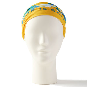 Life Is Good Headband Gaiter Happiness Comes in Wave - Baja Yellow, One Size
