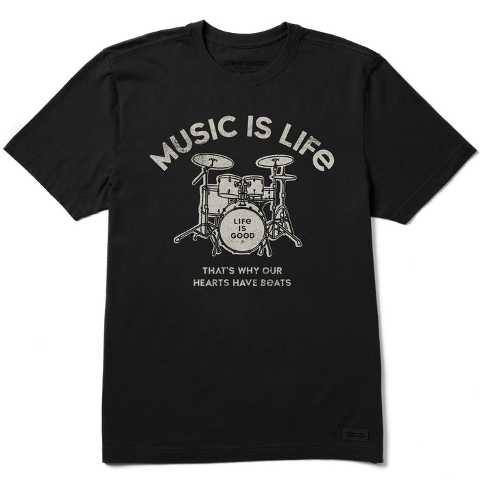 Life is Good Men's Music Is Life Drumset Crusher Tee - Jet Black