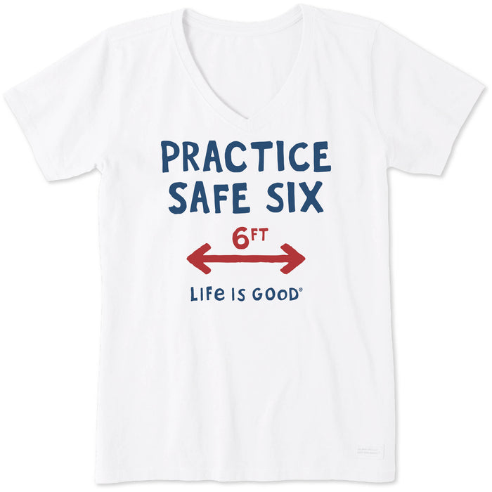 Life is Good Women's Crusher Vee Practice Safe Six, Cloud White