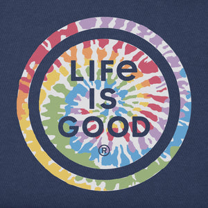 Life is Good Women's Crusher Tee Tie Dye LIG Coin, Darkest Blue
