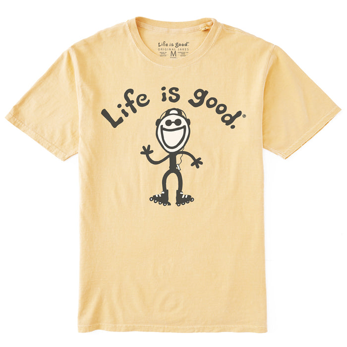Life is Good. Original Tee Jake In-Line Skating, Straw Yellow