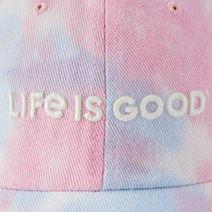 Life is Good Adult Chill Cap LIG Wordmark Horizontal, Happy Grape Tye Dye