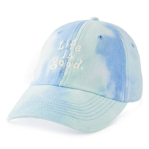 Life is Good Adult Chill Cap LIG Vintage Stacked, Powder Blue Tye Dye
