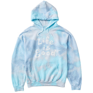 Life is Good Men's Tie Dye Fleece Sweatshirt LIG Vintage Wordmark, Powder Blue Tye Dye