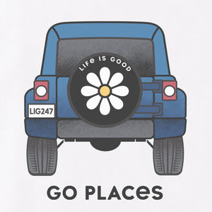 Life Is Good. Womens Crusher Vee Go Places Vehicle, Cloud White