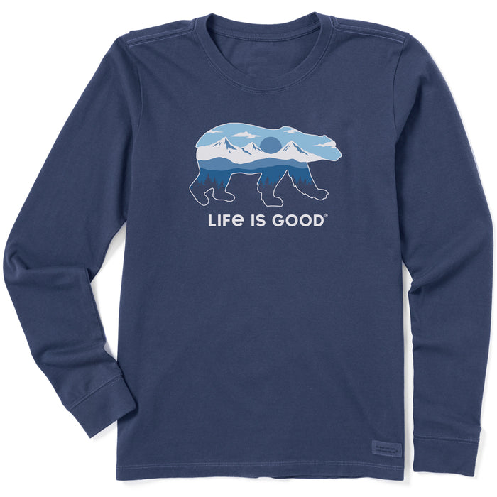 Life is Good Women's Long Sleeve Crusher Tee Polar Bear Landscape, Darkest Blue