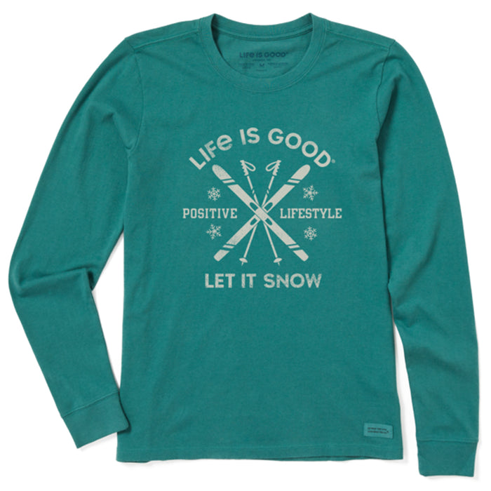 Life is Good Women's Long Sleeve Crusher Tee Let It Snow Ski, Spruce Green