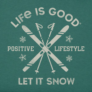 Life is Good Men's Long Sleeve Crusher Tee Let it Snow Ski, Spruce Green