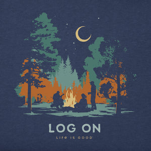 Life is Good. Women's Long Sleeve Crusher Tee Log On Campfire, Darkest Blue
