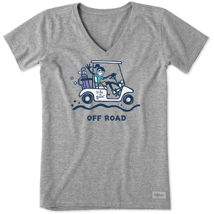 Life is Good. Women's Crusher Vee Jackie Off Road Golf Cart, Heather Gray