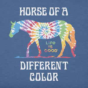 Life is Good Women's Crusher Tee Tie Dye Beautiful Colors Horse, Vintage Blue
