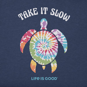 Life is Good. Women's Crusher Vee Tie Dye Turtle, Darkest Blue