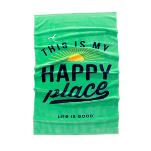 Life is Good. Beach Towel Happy Place, Spearmint Green