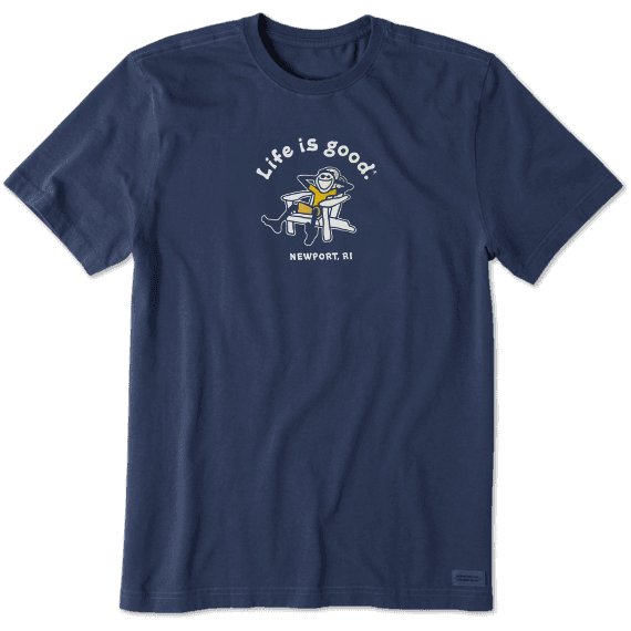 Life is Good. Men's Crusher Tee Vintage Adirondack Jake Newport, Darkest Blue