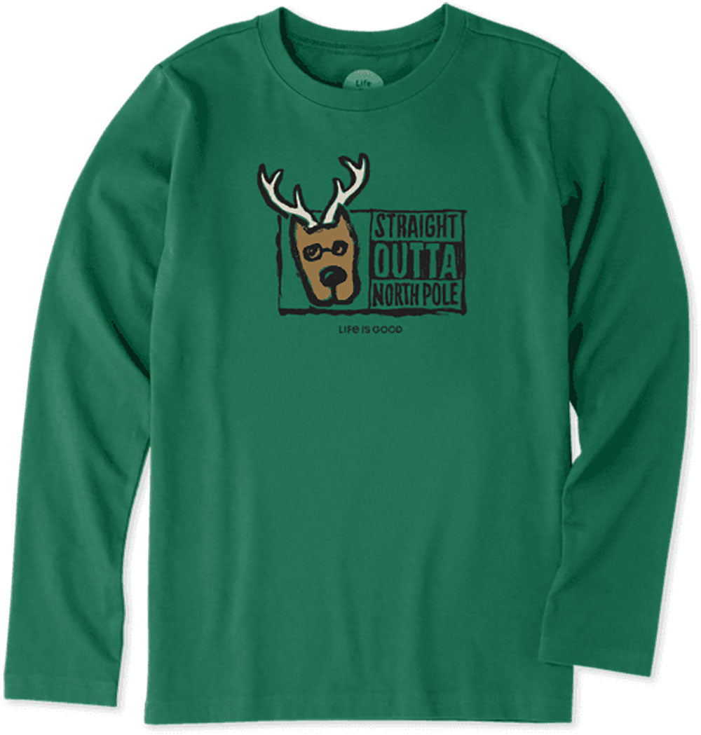 Life is Good. Girls Long Sleeve Crusher Tee: Straight Outta North Pole, Forest Green
