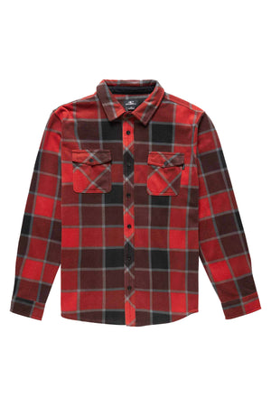 O'NEILL MENS GLACIER PLAID BUTTONDOWN, VINTAGE RED,
