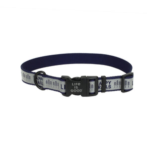 Life is Good. Happy Trails Reflective Dog Collar