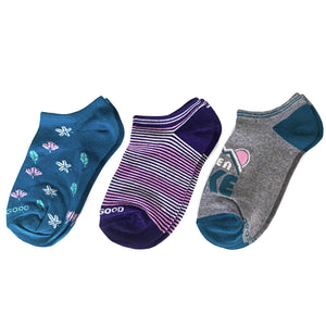 Life is Good 3-Pk Wmn Outdoor Leaves Low Cut Socks, Multi-color - One Size