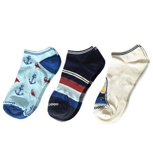 Life is Good 3-Pack  Beach Low Cut Socks, Multi-color - One Size