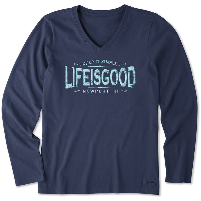 Life is Good. womens crusher Vee Long Sleeve Classic Label Newport, Darkest Blue