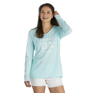 Life Is Good. Womens Hooded Smooth Tee Today Is A Good Dais, Bermuda Blue