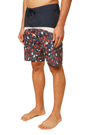 O'NEILL MENS HYPERFREAK BOARDSHORTS, RED WHITE BLUE,