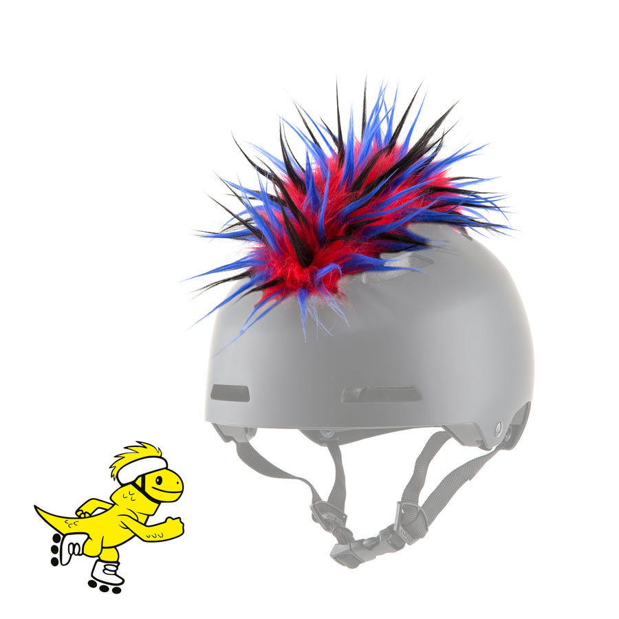 Yacu the Iguana Helmet Mohawk in Red/Blue/Black