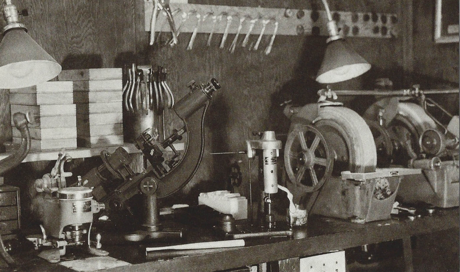 The MOSCOT Finishing Lab, 1938.  The company's 100-year (and counting!) expertise in eyewear began right in our very own shops, with the latest equipment of the time.