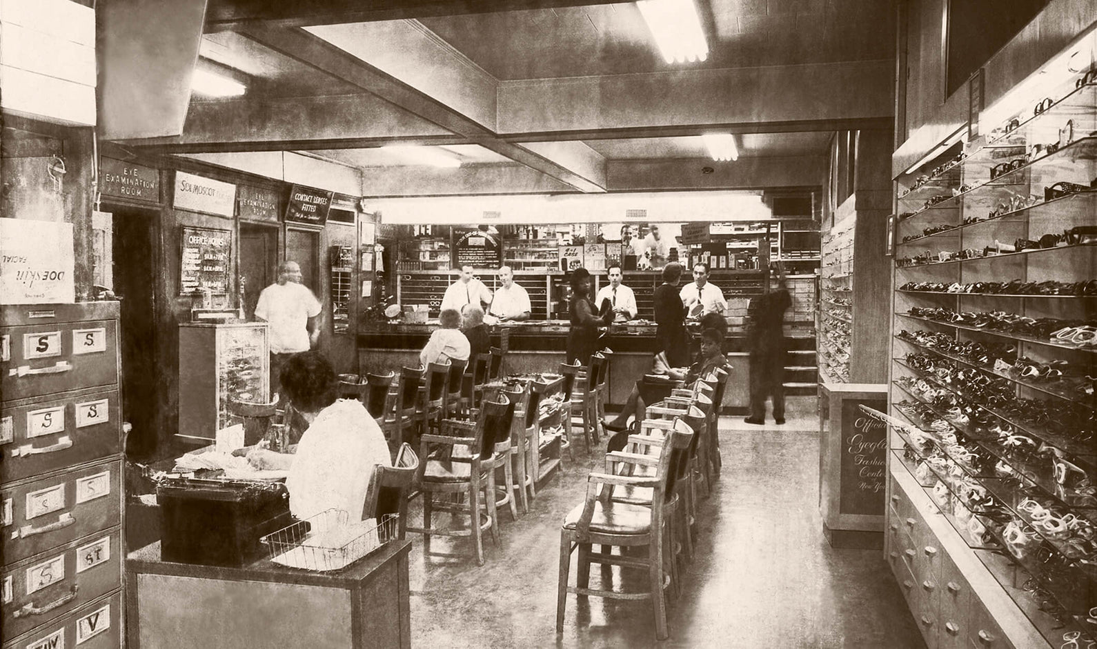 Old photo of the inside of Moscot store