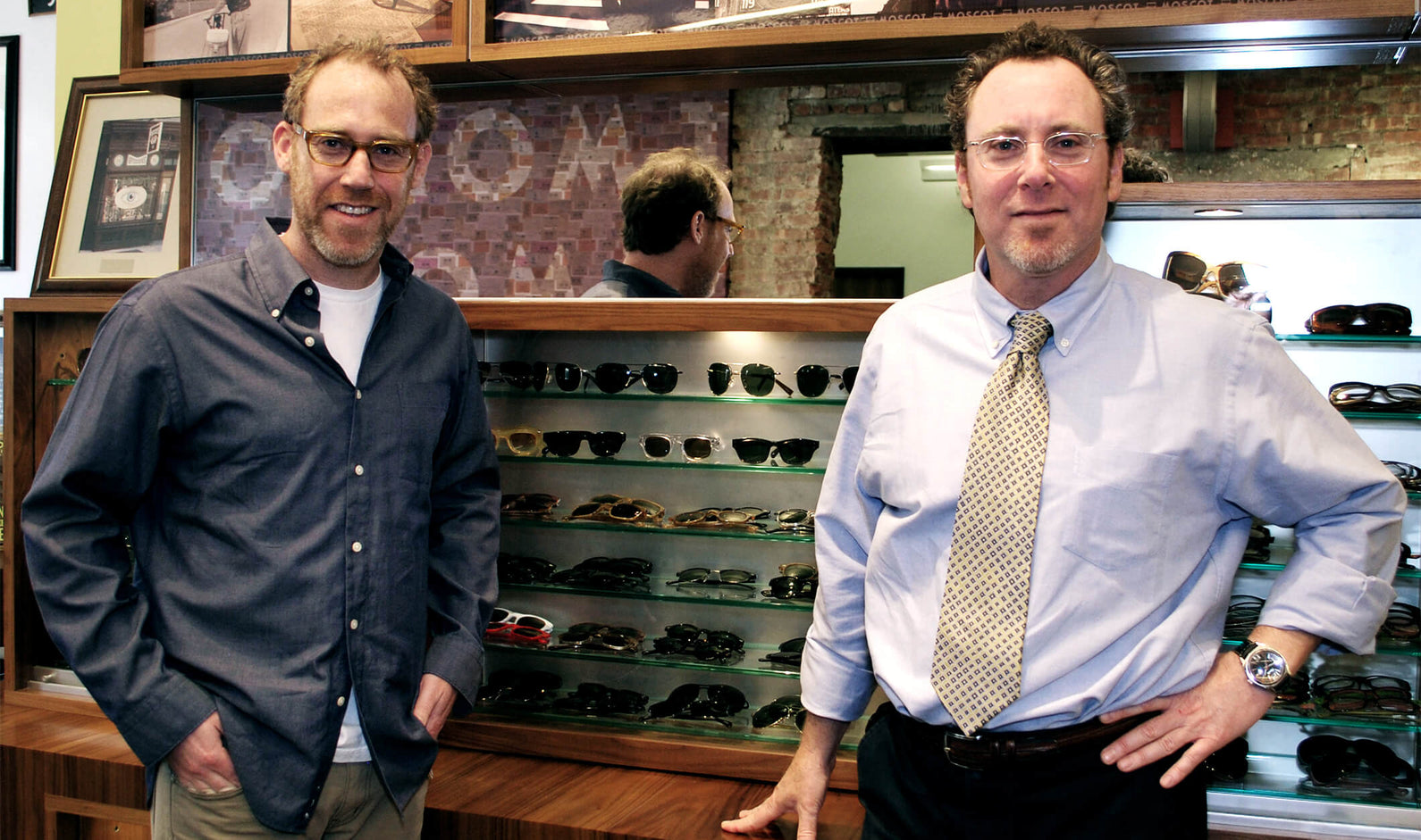 Two men in Moscot store