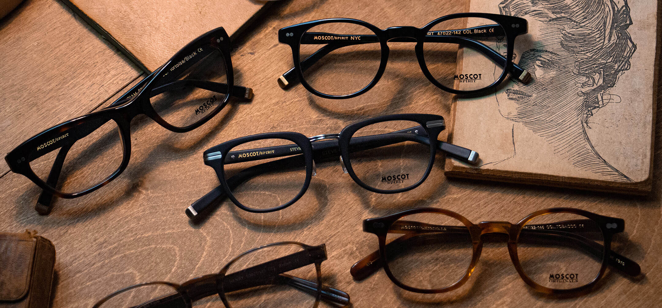 Image of Retired MOSCOT frames on a table