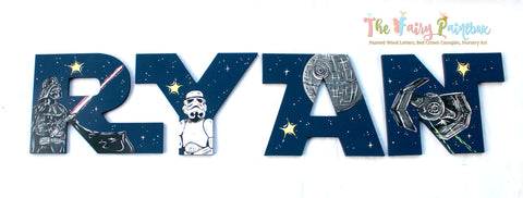Star Jedi Wars Painted Wooden Letters