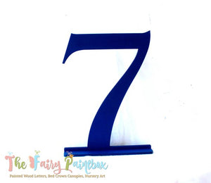 Birthday Table Number - Photo Prop Number Sign - Standing Wooden Number - Dark Blue