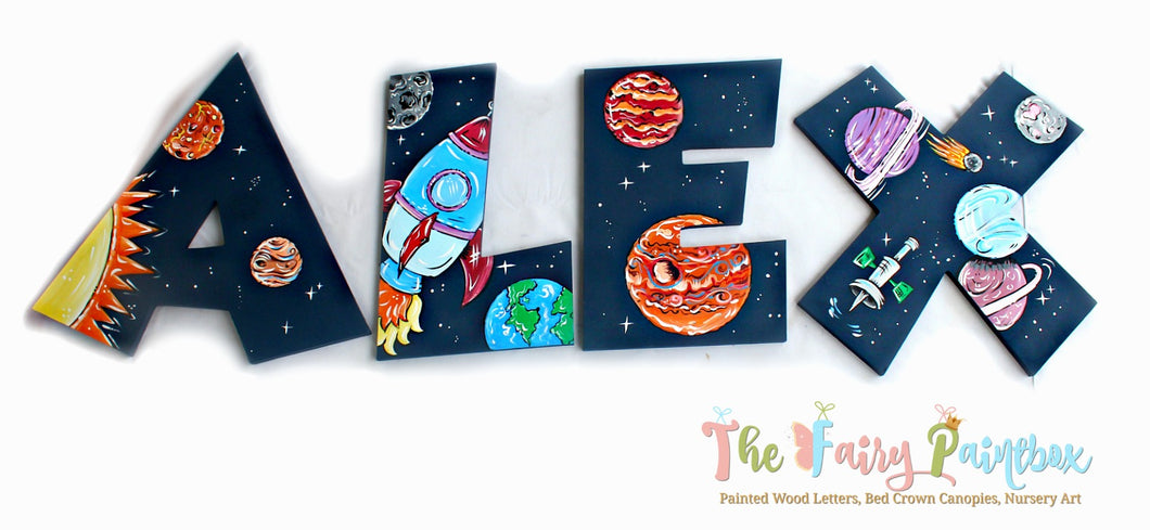 Solar System Planetarium Nursery Room Wall Letters - Outer Space Kids Room Painted Wood Letters