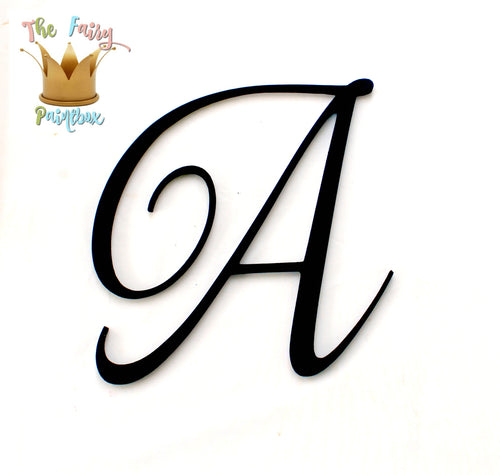 Wedding Script Nursery Room Wall Letters - Black Painted Wood Letters