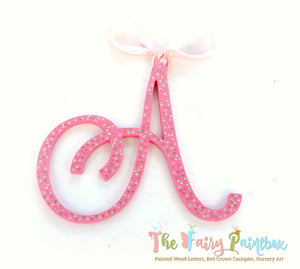Sparkle Nursery Room Wall Letters - Swarovski Crystal Painted Wood Letters - Rose Pink Diamond