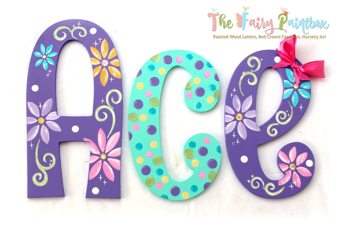 Purple Daisy Nursery Room Wall Letters - Daisy Kids Room Painted Wood Letters