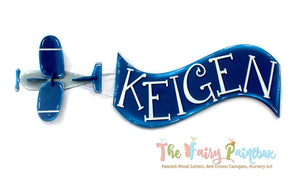 3D Airplane & Banner Kids Room Sign