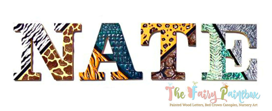 African Animal Print Painted Wood Wall Letters - Animal Print Safari Nursery Room Letters