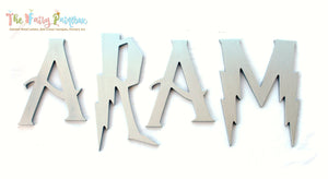 Wizard Academy Nursery Room Wall Letters - Wizard Kids Room Painted Wood Letters - Metallic Silver