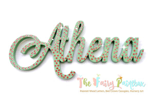 Sparkle Nursery Room Wall Letters - Swarovski Crystal Painted Wood Letters - Sage Green