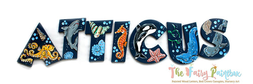 Sea Animals Nursery Room Wall Letters - Aquarium Kids Room Painted Wood Letters