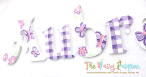 Gingham Butterfly Nursery Room Wall Letters - Gingham Butterfly Kids Room Painted Wood Letters