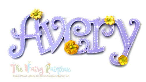 Shimmer Purple Painted Wood Letters - Sparkle Floral Nursery Room Letters