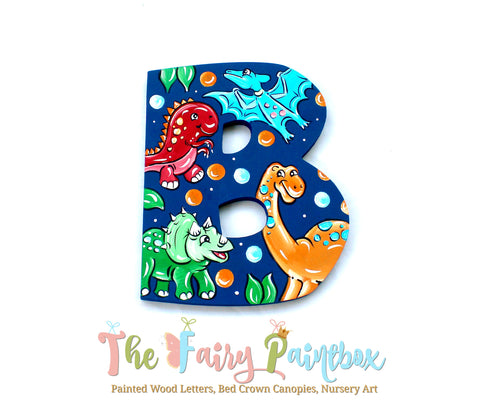 Dinosaur Nursery Room Wall Letters - Dinosaur Kids Room Painted Wood Letters
