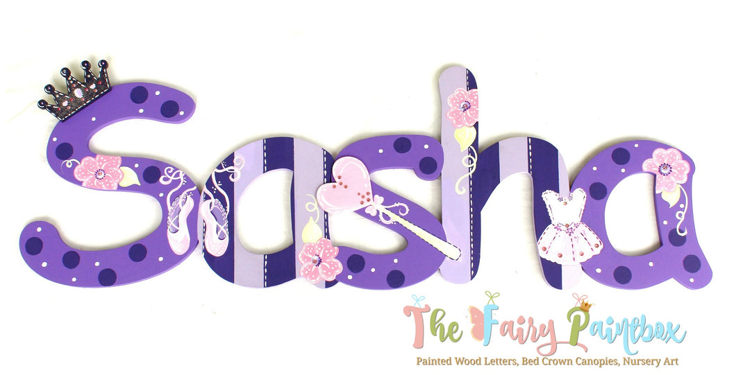 Ballerina Princess Nursery Room Wall Letters - Ballerina Kids Room Painted Wood Letters